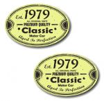 PAIR Distressed Aged Established 1979 Aged To Perfection Oval Design Vinyl Car Sticker 70x45mm Each